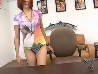 Pretty pale skinned redhead Brady Paige got guests in her ass for the first time at the casting