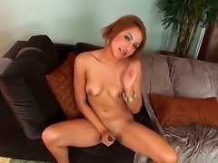 Young girl with hot round boobies Veronique Vega naughtily spreading her legs and pleasing her shaved pussy with masturbation and dildo fuck!