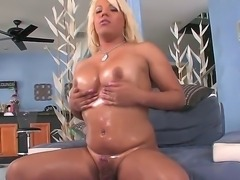 Booty blonde tranny whore Annalise opens her tight filthy ass hole and...