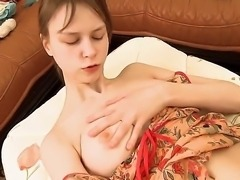 Pretty young and sexy hot girl Beata sexily slid down her panties and passionately pleasing her fresh shaved pussy with fingering and masturbation!