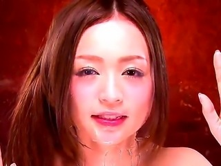 Lusty Karin Kikumi is posing naked by the mirror as she wants to ease her...