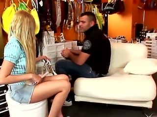 Donabell inverviews her new friend and makes a him a footjob, because he is a nice guy