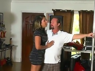 Exotic looking mature milf with jicy hooters in sexy stockings gets seduced by experienced fucker