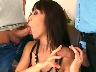 Amazing hottie Marica Hase pleses horny males in nasty threesome hardcore scene