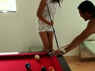 Buxom Layla Terrace came to play billiards in too sexy dress! No one can resist her big natural boobs and sexy tanned us in this short dress, especially lucky Brannon Rhodes!