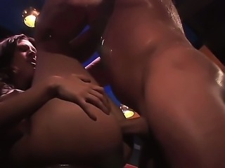 Brianna Love being hard fucked by John West at the bar, he fucked her mouth and now drilling hard her pussy!
