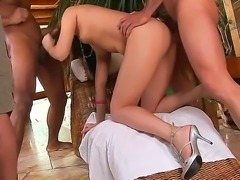 Hot Nilla gets nailed in nasty threesome by two horny hunks with large cocks
