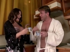 Adorable brunette milf Clanddi Jinkcego with gigantic juicy knockers in sexy...