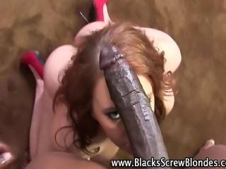 Curvy brunette hottie gets interracial big black cock