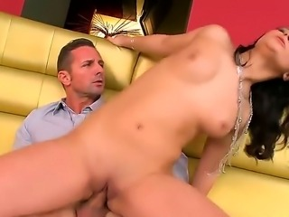 Adorable and dazzling brunette Lana S revealing her huge breasts and doing a splendid blowjob for her man and while jumping on him having his big dick penetrated her horny and naughty. pussy