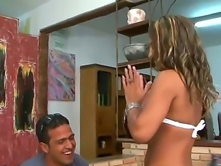 Sexy sexy babe Thais is showing her brown booty to a stranger Tony Tigrao