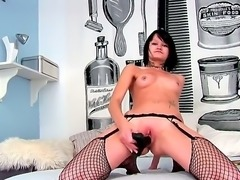 Wild brunette with sexy piercing in the lip, named Nova Black, uses hardcore...