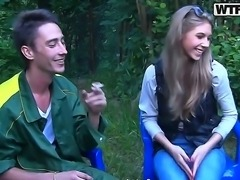 Stare at everything this amateur couple is doing during picnic. They are...