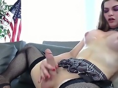 This creature with long cock and nice small tits is she-male. He likes to...