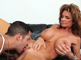 Crazy milf Deauxma spreads her sexy legs and gets Kris Slaters dick in her tight holes