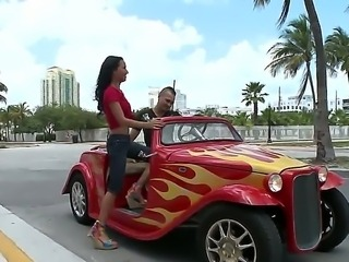 Amia Miley was pick uped at the hot rod cars show by young guy. Babe enjoys riding in his hot rod car, but what about some hot riding on his hard dick She is not against.