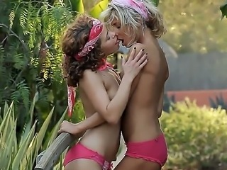 Cute curly brunette Caprice and her sexy naughty blonde lesbian girlfriend...