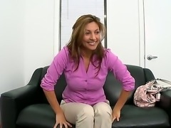Huge tits sexy named Lisa attends to porn casting where she gets horny