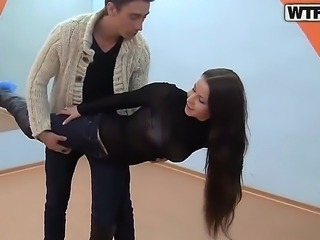 Horny teen Mikaela gets picked up from the street and convinced to fuck along two guys