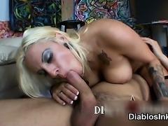 Big Boobs tattoed body slut blonde gets