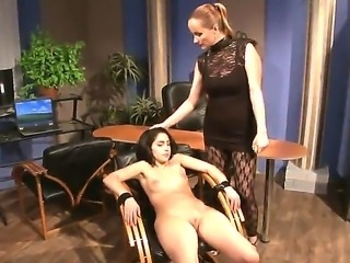 The teen is tied and will be fucked hard by her boss. Jesika Gold prefers the young virgin girls, that work in her company. Katy Parker scares a lot, but she likes this type of sexual games