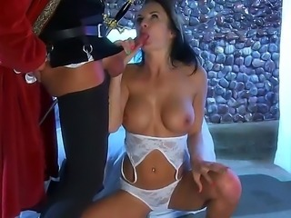 Fucking hot and famous whore - Alektra Blue is ready for fucking fuck! She is staying on her knees while sucks her boyfriends cock! That fucking horny slutty bitch is so damn hot!