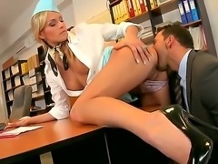 Super hot stewardess with flawless figure Jenny fucking sweet with her boss...
