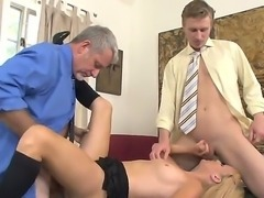 Father and son decided to fuck a sweet bitch whose name is Brittany Angel B