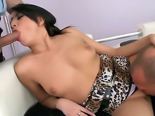 Mysterious brunette Karen lets these two wild boyfriends to unlock her main secrets. Super sexy Asian lady becomes very horny and gets two dicks in every holes of her body.