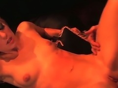 Young looking slim blonde babe Angela Stone with natural boobs and heavy make...