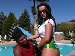 Black strong big cocked dude Jbrown oiling up tight Tati Schnaiders ass and...