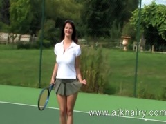 This video of Vanessa is a real sportsman's hairy treat, watch as she plays tennis and then swims and displays her hairy soaking hairy pussy for our pleasure