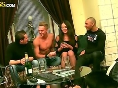 Young and horny Natalie gets fucked hard by her boyfriend and his two best...