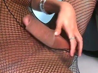 Hot dirty shemales Agatha Ketenllyn and Jo Garcia showing perfect boobs and fucking in nice fishnet