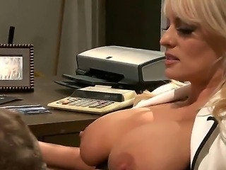 Gorgeous slutty whore with blonde hair - Stormy Daniels being fucked by muscular douchebag right after the rubbery! She loves to feel huge cock in her little pussy! So damn hot!