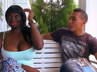 Amazing ebony Karina teases and fully satisfies Horny hunk with a big dick