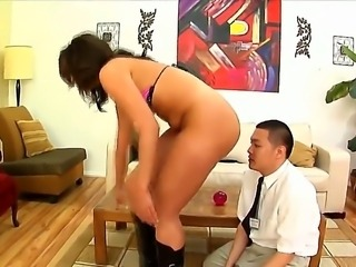 Gorgeous and big ass brunette Kelly Divine gets her shaved taco and ass licked in the office by her worker
