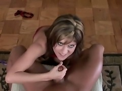 Busty brunette chick Tyla Wynn pulled up her bra got down on the floor at...