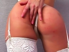 Delicious Lucy heart in sexy lingerie and hot stockings in the orgasmic ecstasy