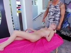 Sexy petite babe Elaina Raye gets a big dick in her tight and sweet hole