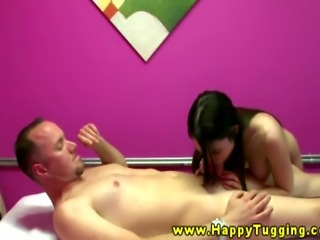 Hot asian cutie spoiling client orally in this HD video