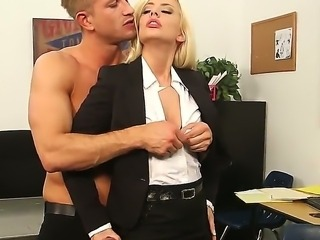 Blonde secretary Jessie Volt enjoys pleasing her horny boss Bill Bailey