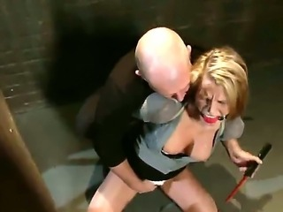 Blonde babe Aspen gets brutaly fucked by Mark Davis after being all tied up...