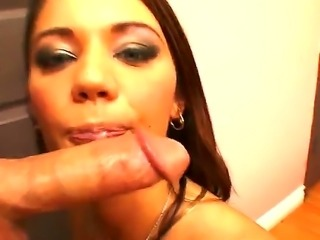 Young cum swallowing bitch Arianna Jay with slutty heavy make up gives head to her lover in close up
