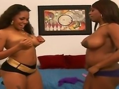 Crazy lesbian scene with two ebony sluts named Amanda and Jada Fire