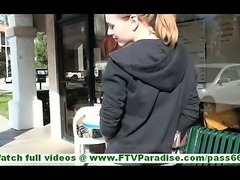 Kasey amazing brunette with ponytail flashing and toying pussy in public
