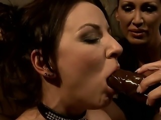 Sexy brunette babe gets a hard lesson as her tight gaping cunt is fingered...