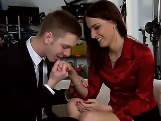 Hot redhead Lyen Parker with secretary looks enjoys in giving head on her knees during the porn audition