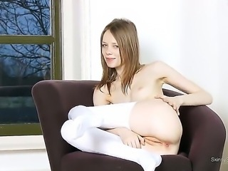 Look at pretty little whore Gloria masturbating, touching her shaved twat