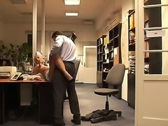 Incredibly hot blonde stewardess Jenny having fun with her boss in his office